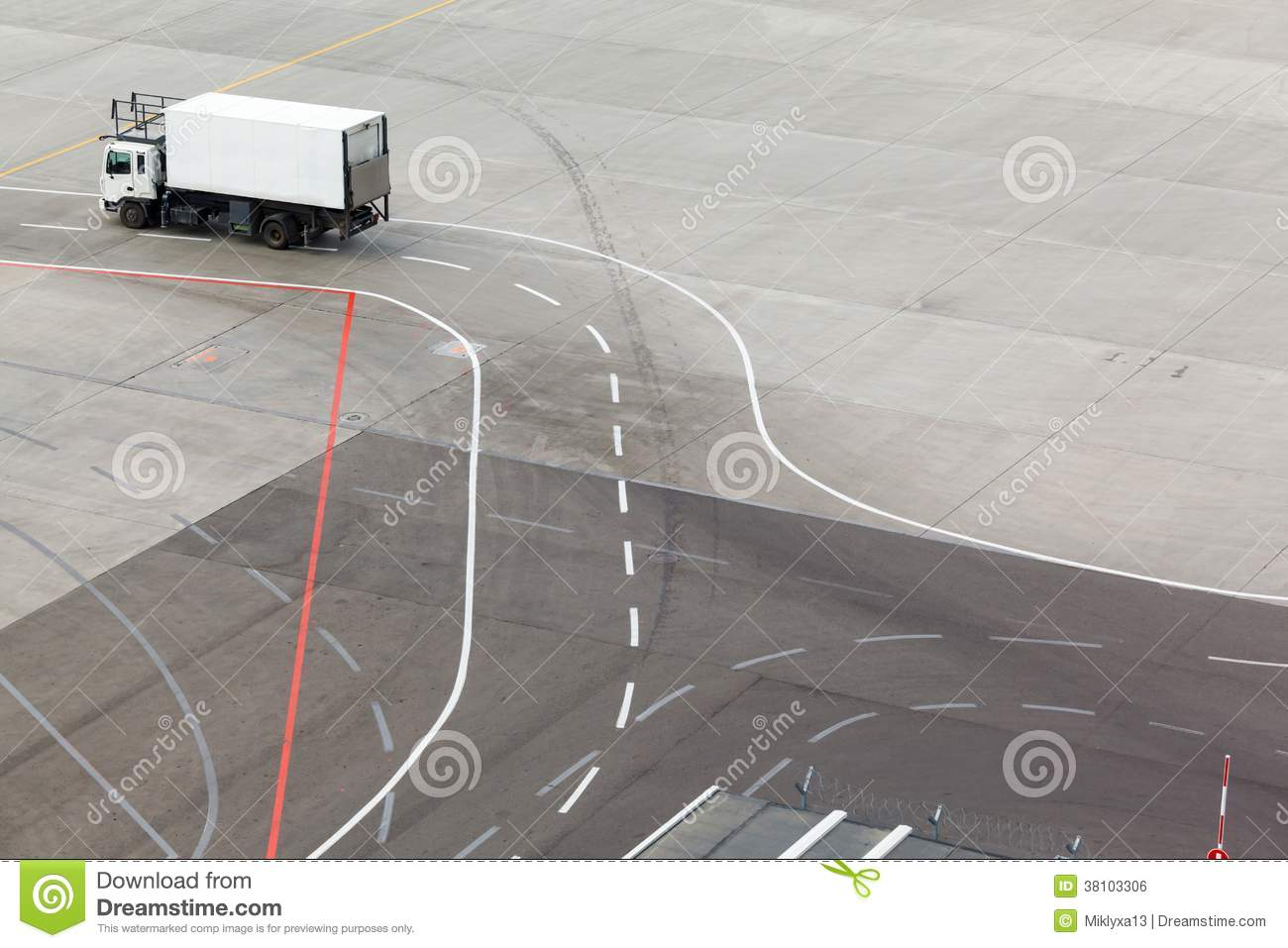 Truck, Airfield And Markings On Apron Stock Photo - Image of