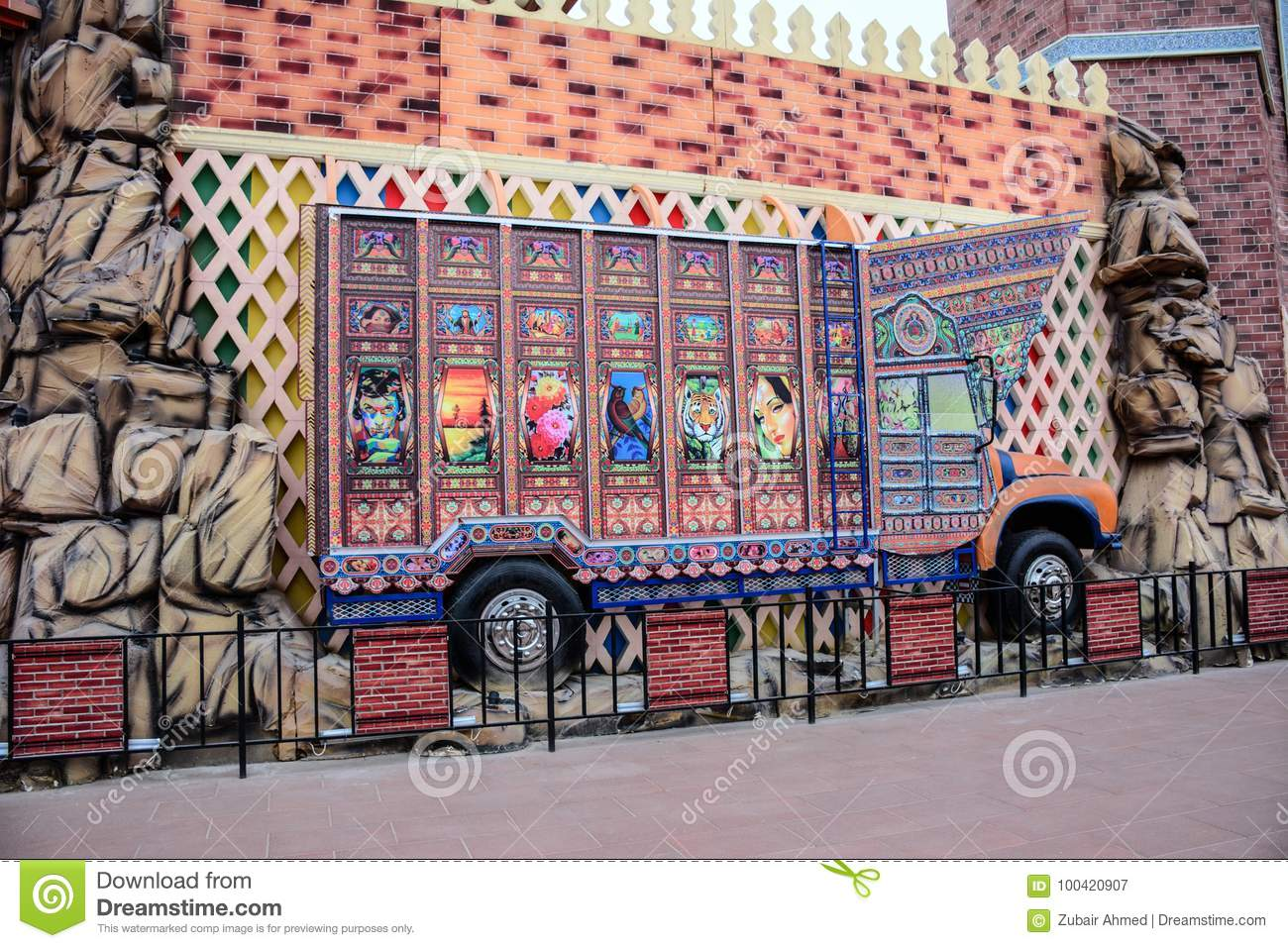 Truck art pakistan city in Global village dubai UAE
