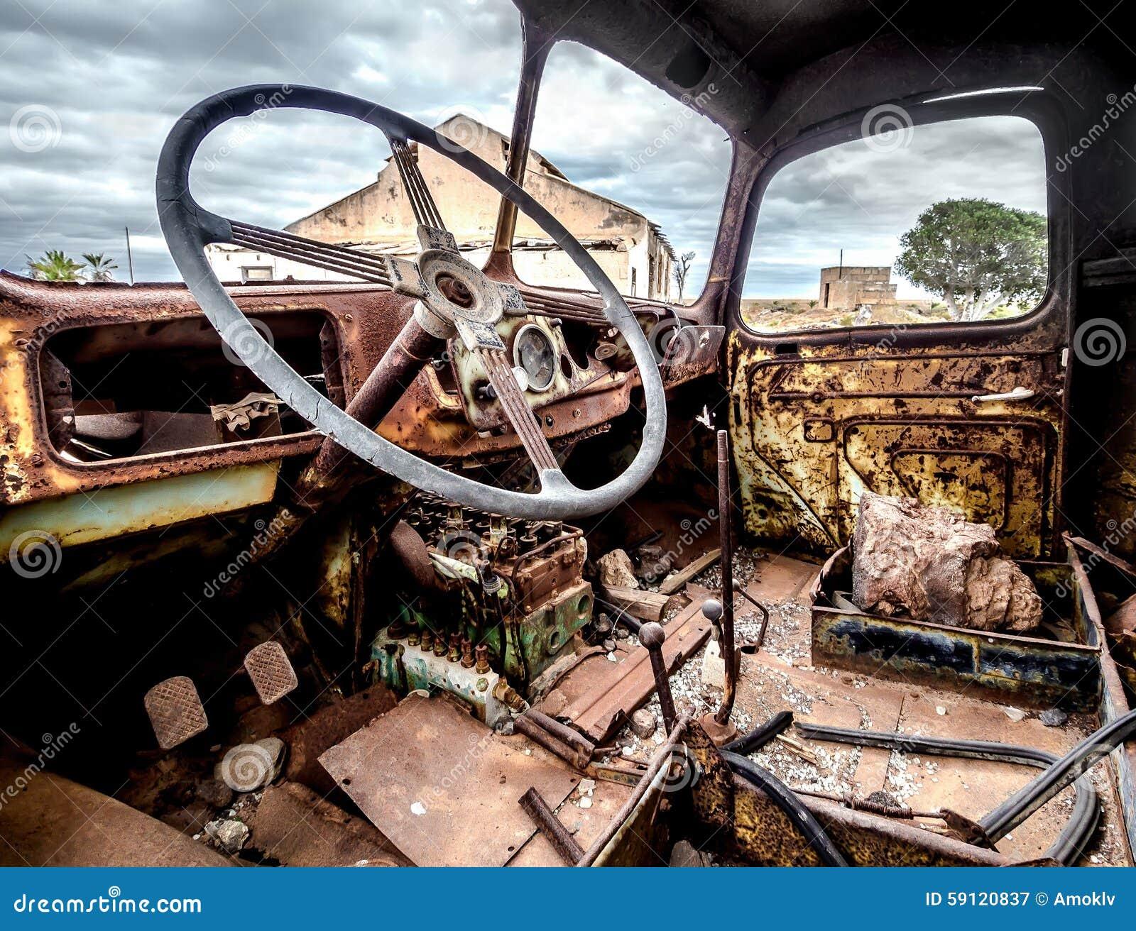 Inside Of Rustic Old Truck Door Stock Photography