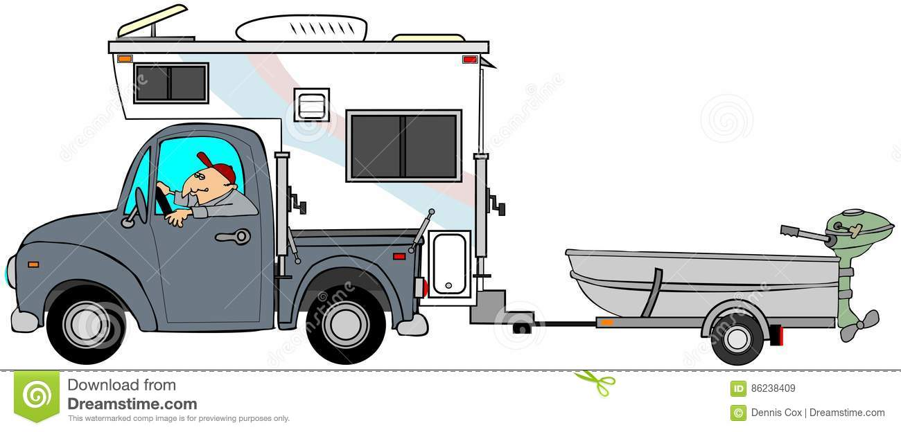 Truck And Camper Pulling A Small Boat Stock Illustration Illustration Of Pickup Trailer 86238409