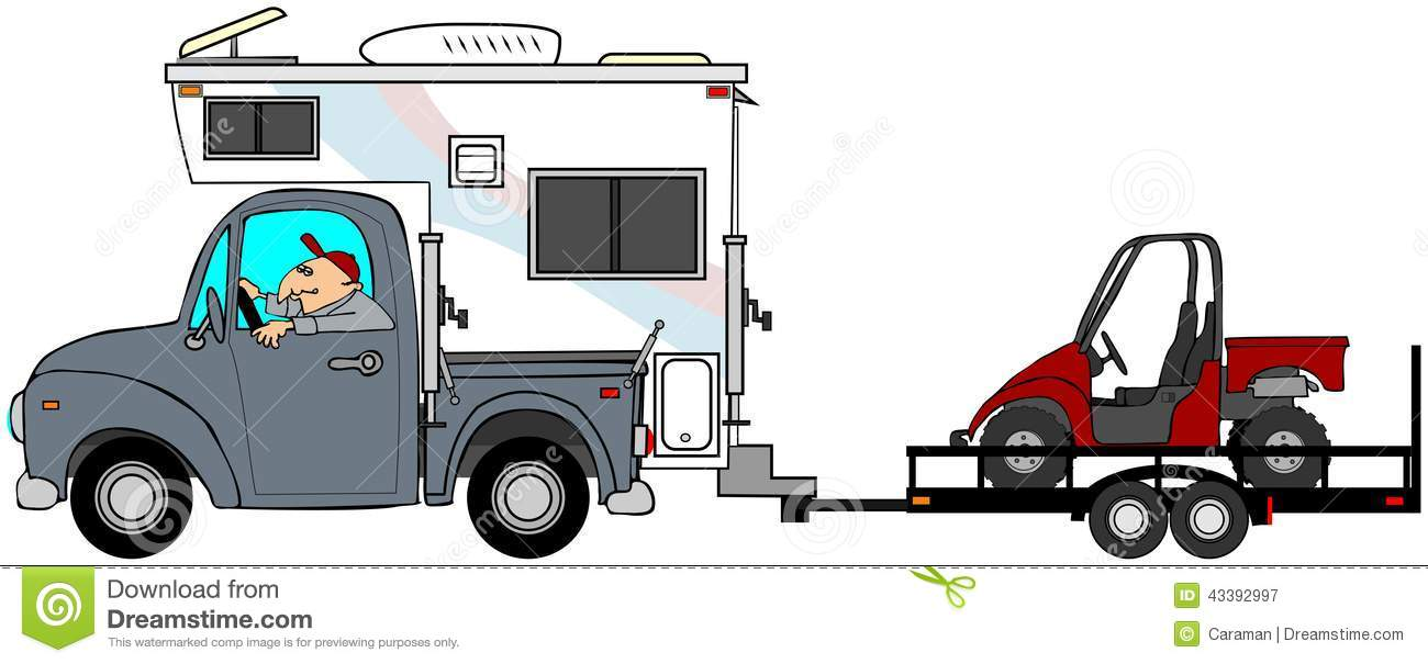 This illustration depicts a man driving a truck and camper pulling a ...