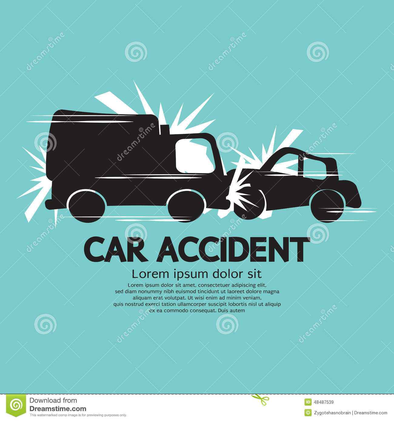 Truck And Car In An Accident Stock Vector