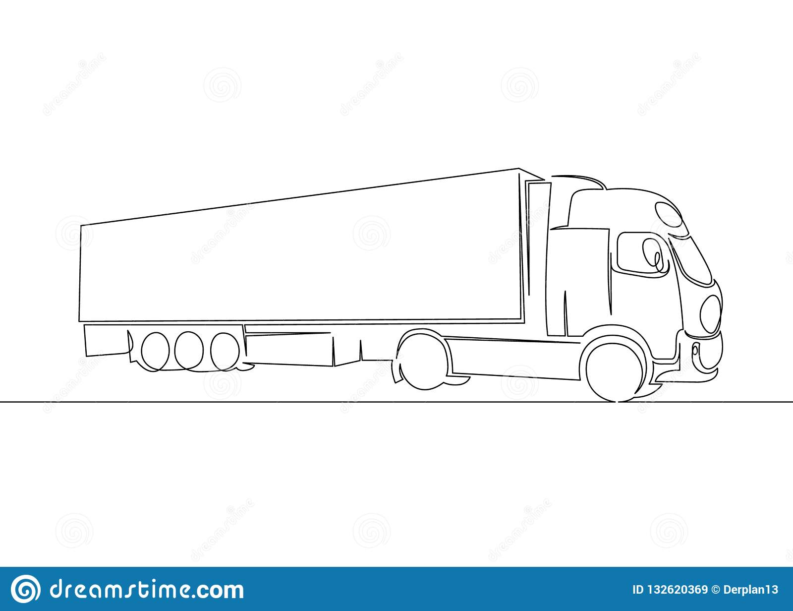 Truck With Cargo Trailer Driving Stock Vector Illustration Of Automobile Drawing 132620369