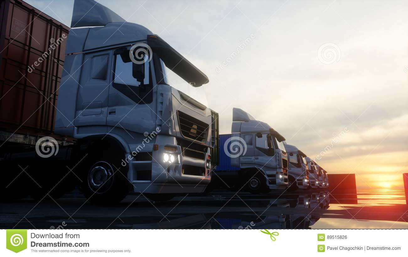 Truck in container depot, wharehouse, seaport. Cargo containers. Logistic and business concept. 3d rendering.