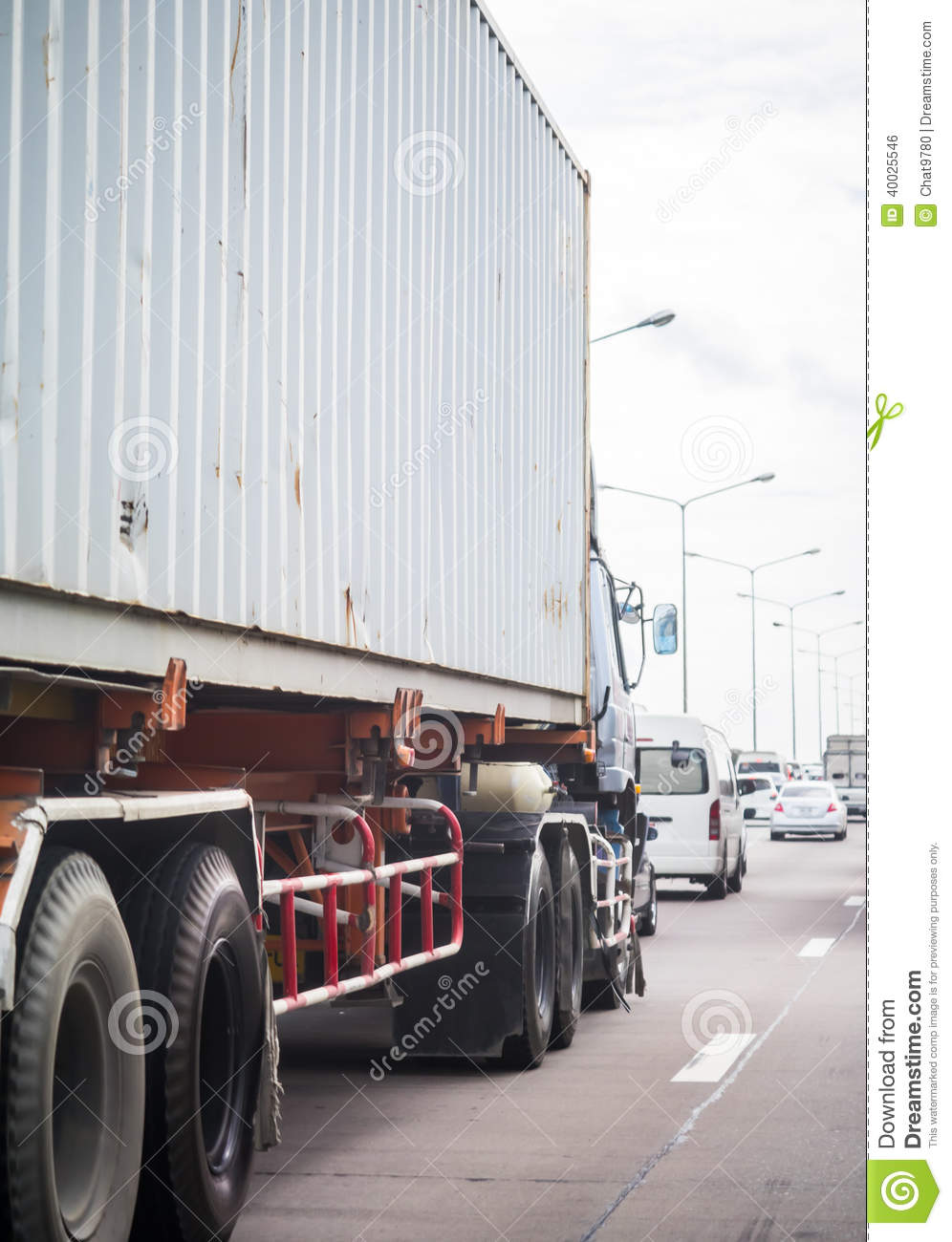 Truck With Container On The Road Stock Photo - Image: 40025546
