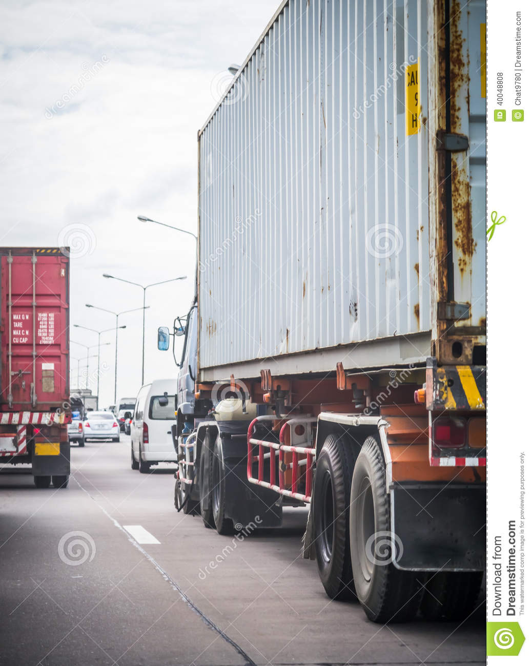 Truck With Container On The Road Stock Photo - Image: 40048808