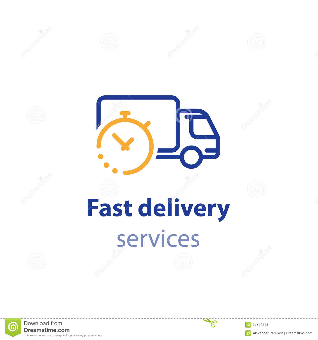 Truck delivery duration, fast relocation services, transportation company logo element, shipping order day, distribution line icon