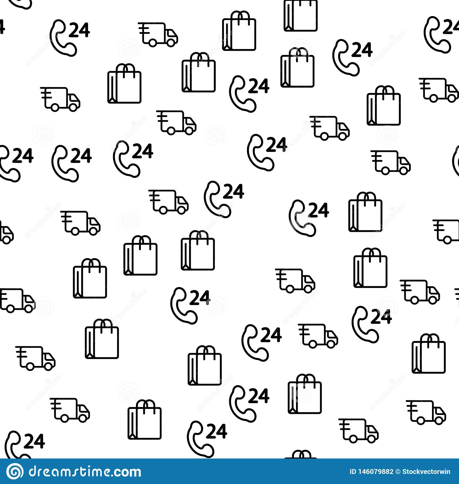 Truck Delivery Logistic for Store Seamless Pattern