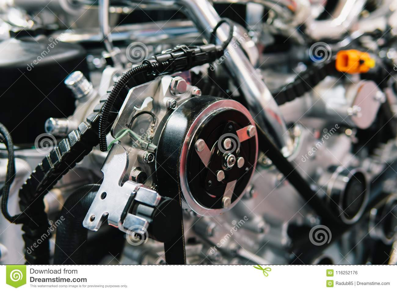 Truck Engine Motor Components In Car Service Stock Photo - Image of ...
