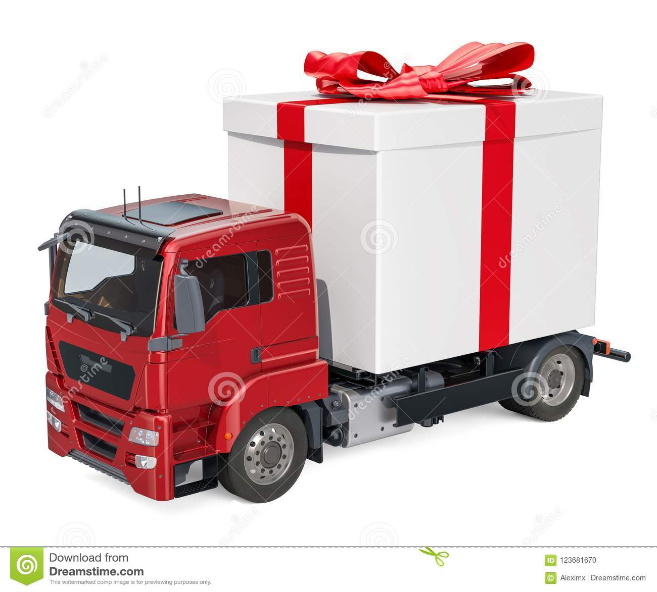 Truck with gift box. Gift delivery concept, 3D rendering