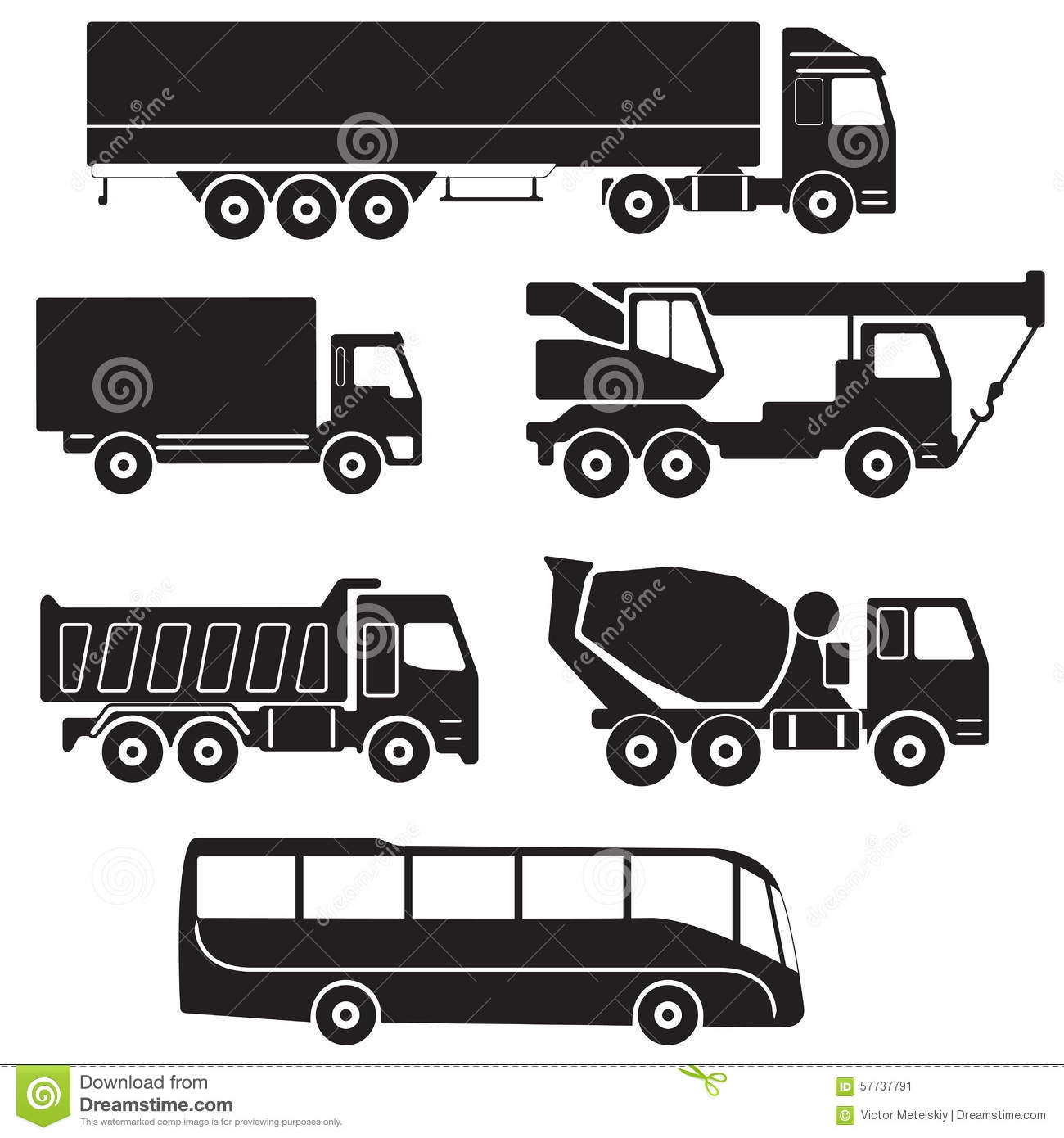 Truck Icons Set Vector Collection Of Vehicles Stock