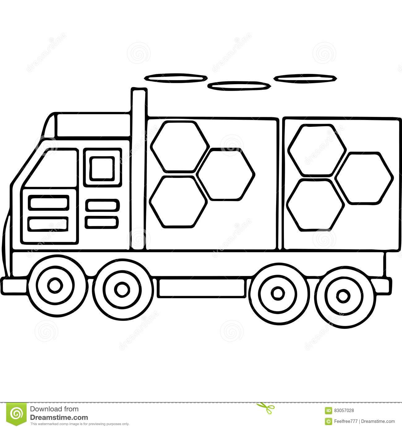 Truck Kids Coloring Pages Geometrical Figures Stock Illustration ...