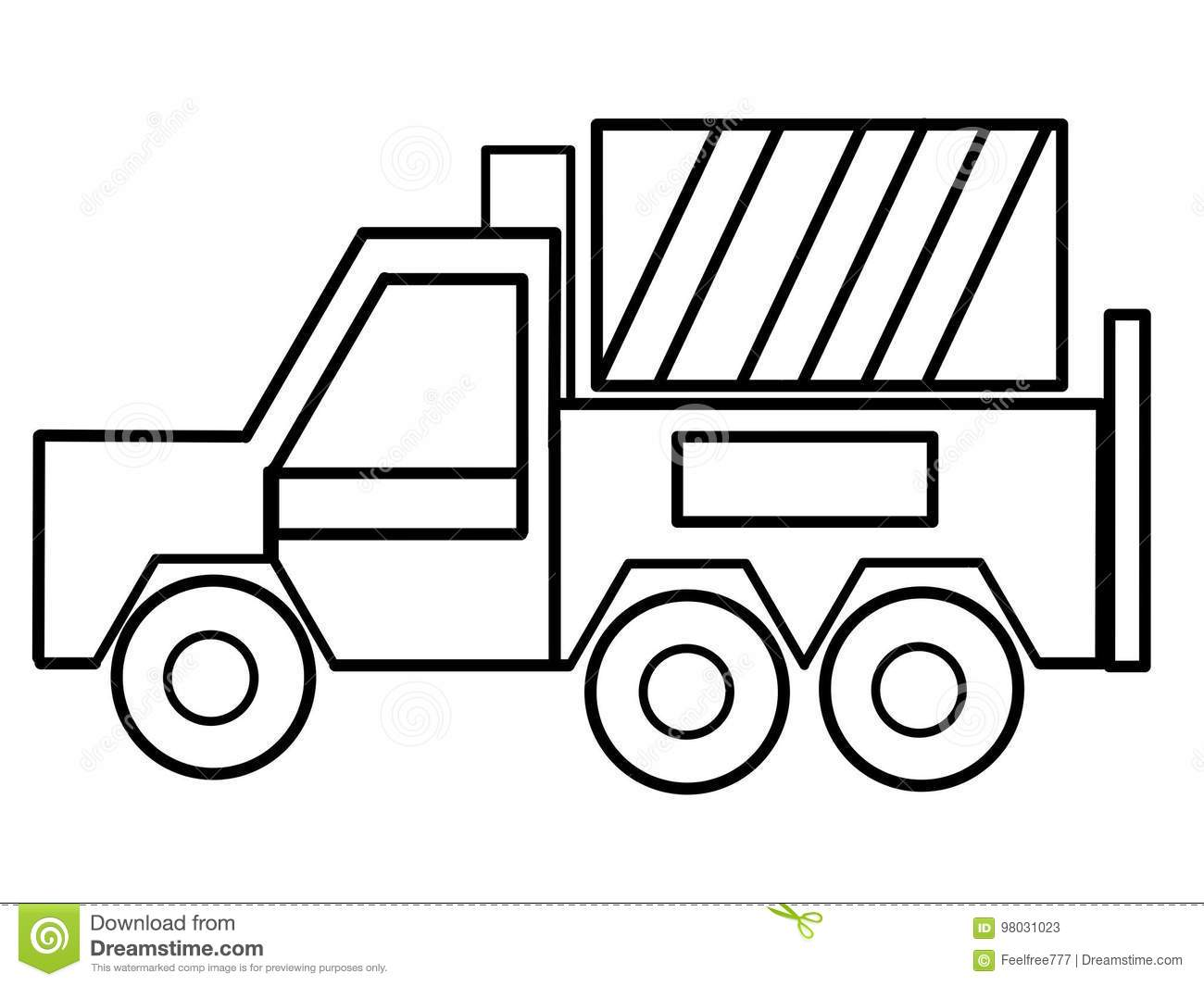 Truck Kids Educational Coloring Pages Stock Illustration