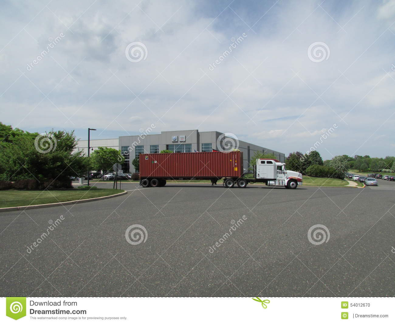 truck leaving vag vw audi distribution center in nj flags of usa germany and state of new. Black Bedroom Furniture Sets. Home Design Ideas