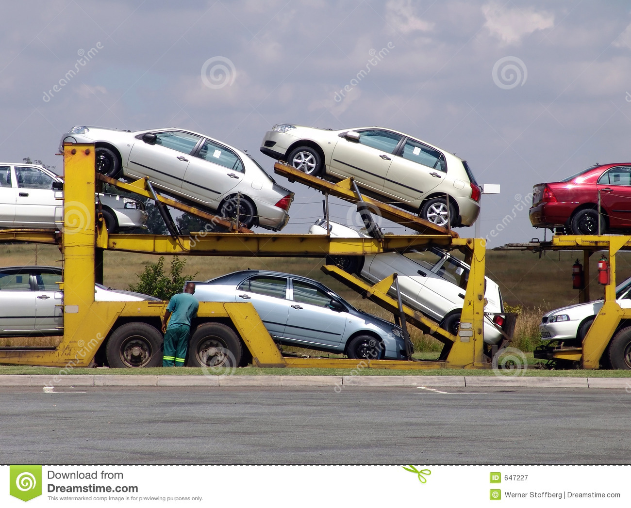 Truck Load Of Cars Stock Image Image Of Inspect