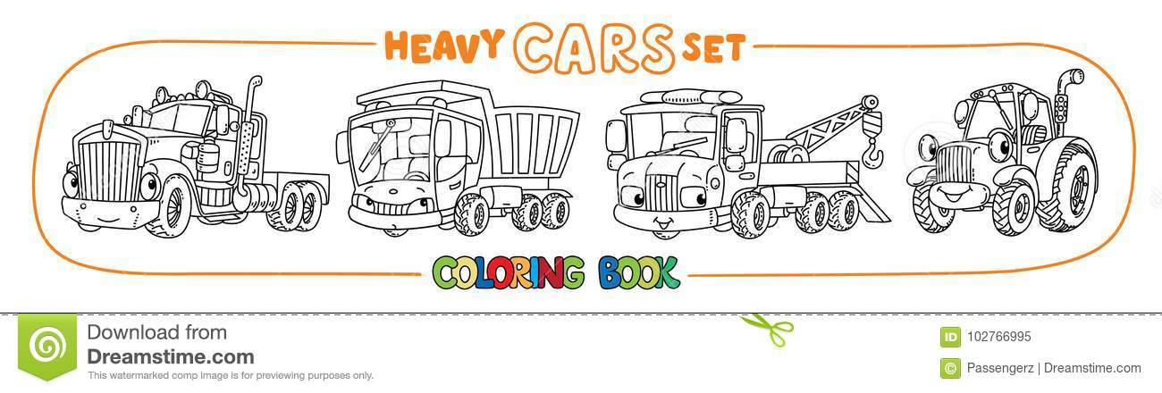 Funny Heavy Cars With Eyes  Coloring Book Set Stock Vector