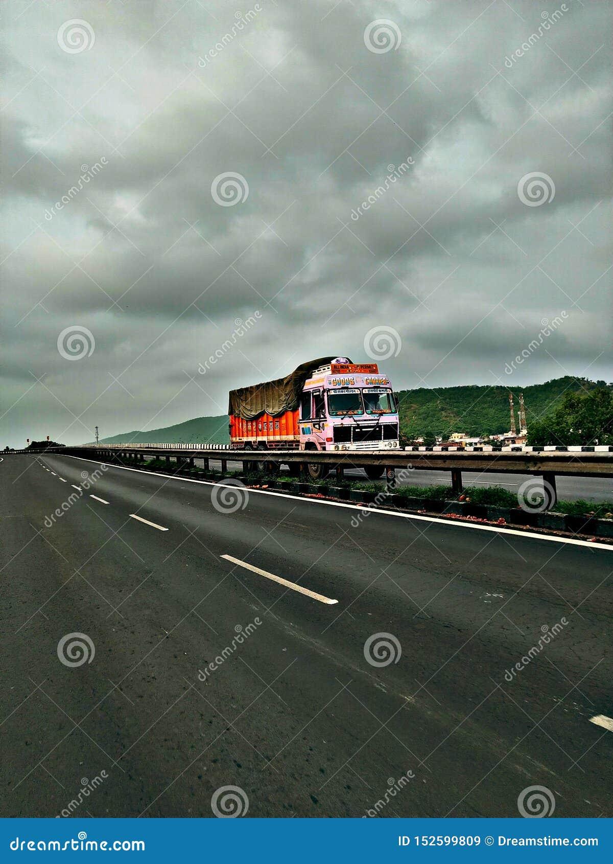 Truck lover on highways monsoon click