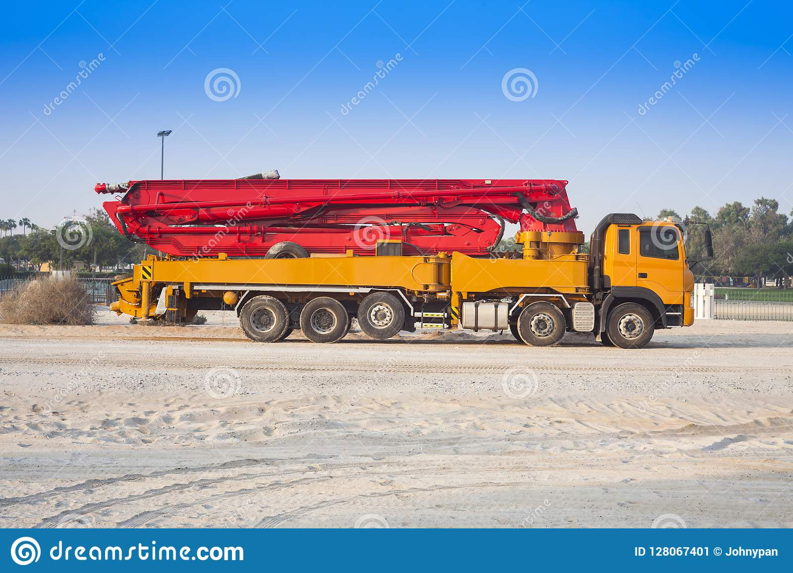 Truck Or Machine With Concrete Pump Stock Image - Image of machinery