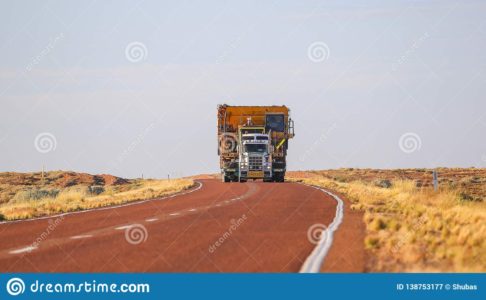 Truck Oversize load carries oversized cargo