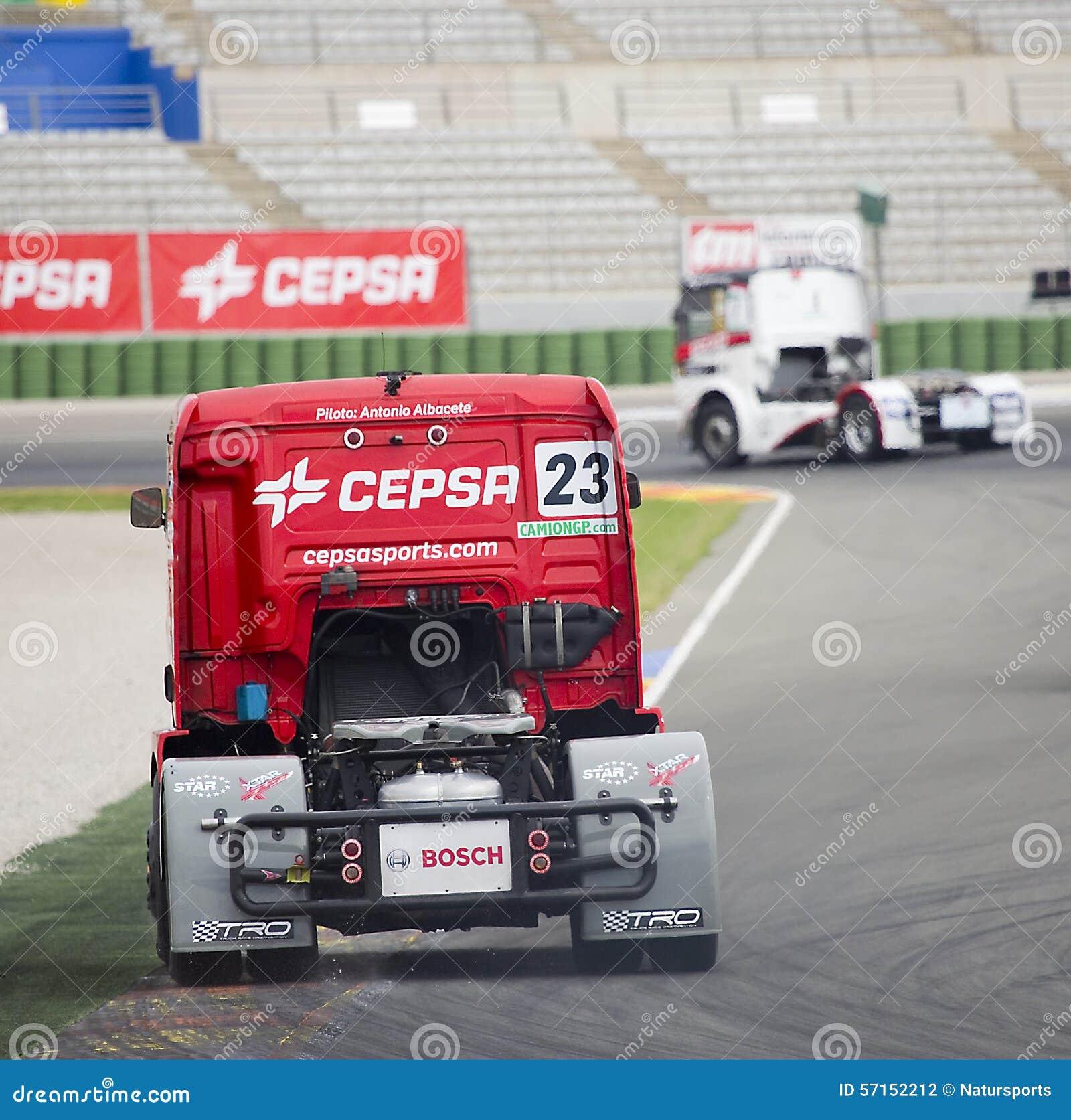 Albacete Circuit : Truck racing antonio albacete editorial photography image of