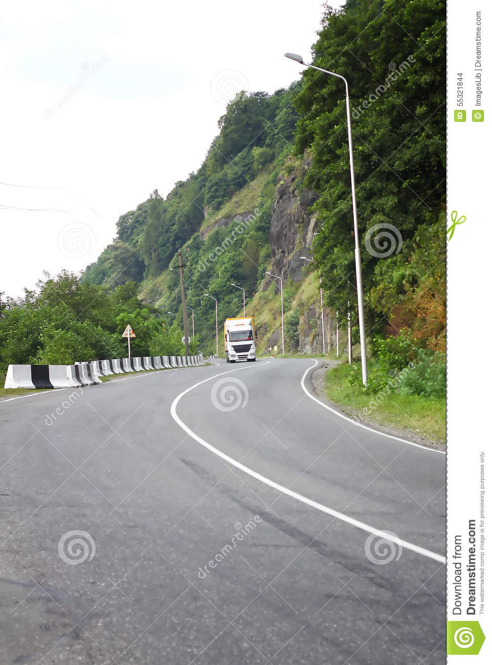 truck on the road car on the long distance stock photo image 55321844. Black Bedroom Furniture Sets. Home Design Ideas