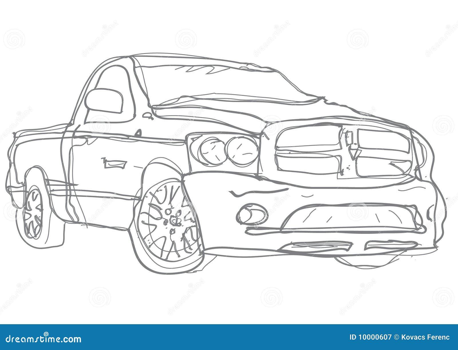 Truck sketch, handdraw
