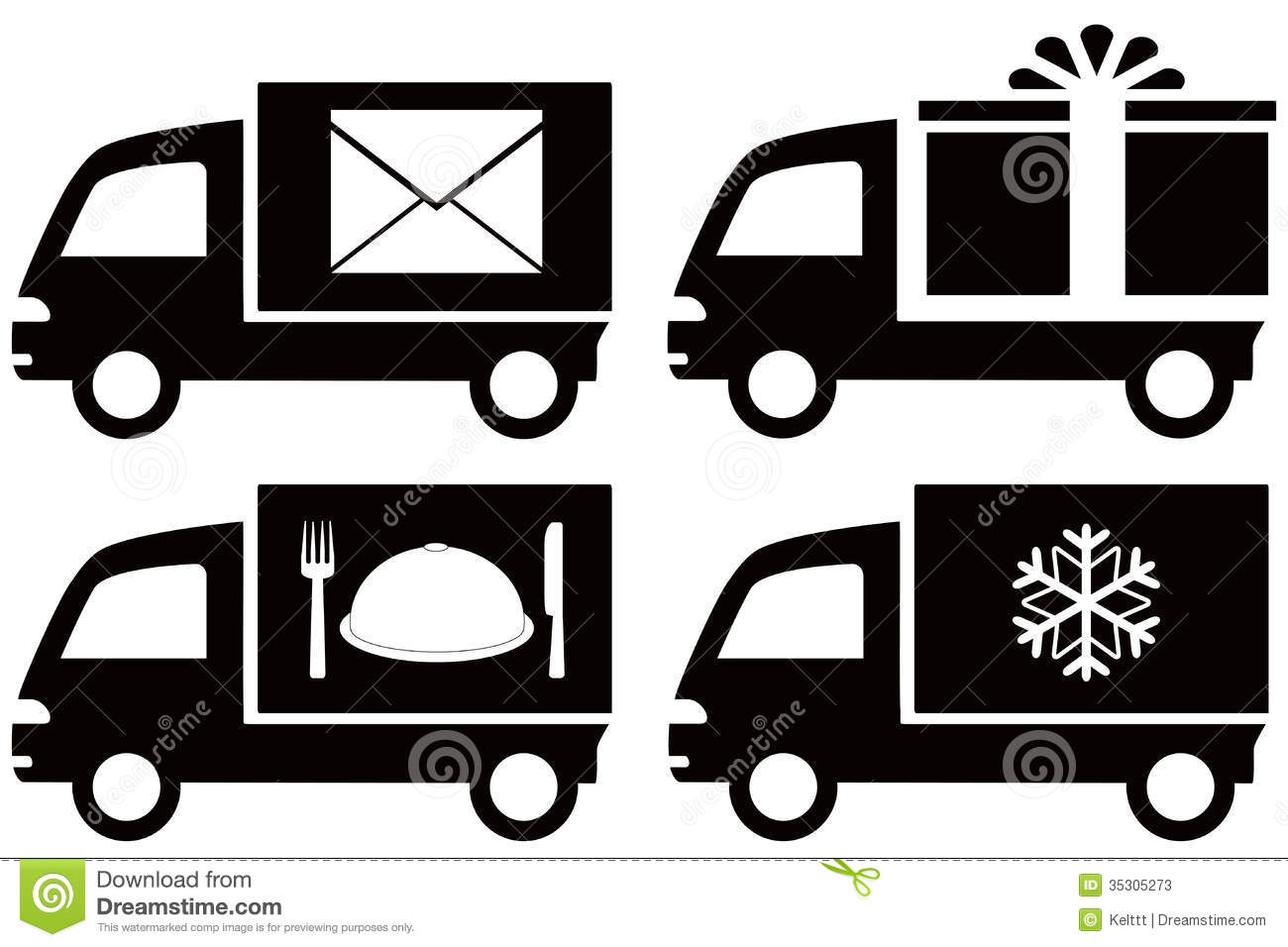 Truck with snowflake, envelope, food dish, gift bo