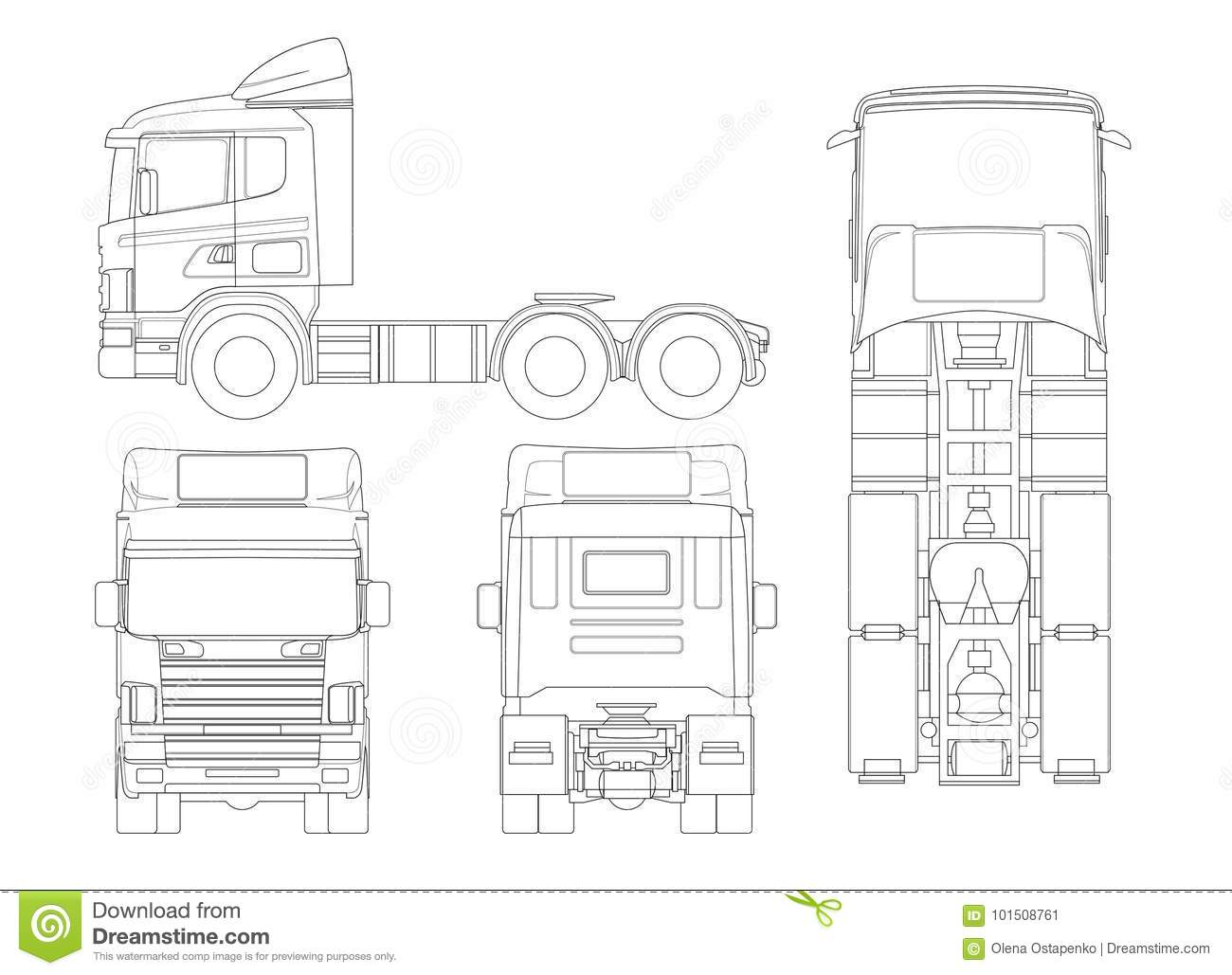Trailer Truck Diagram Outline Wiring Diagrams Radio Frequency Circuit Design Repost Avaxhome Tractor Or Semi In Combination Of A Rh Dreamstime Com Ol