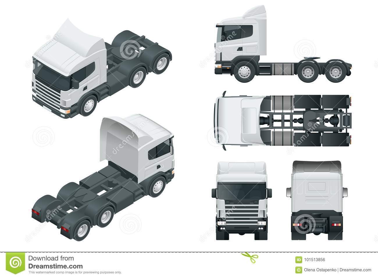 Truck tractor or semi-trailer truck. View front, rear, side, top and isometry front, back.. Cargo delivering vehicle