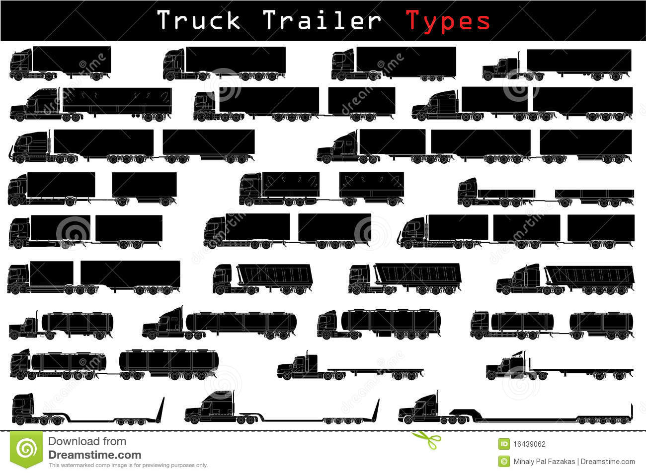 Types Of Tractor Trailers : Truck trailer types stock vector illustration of freight