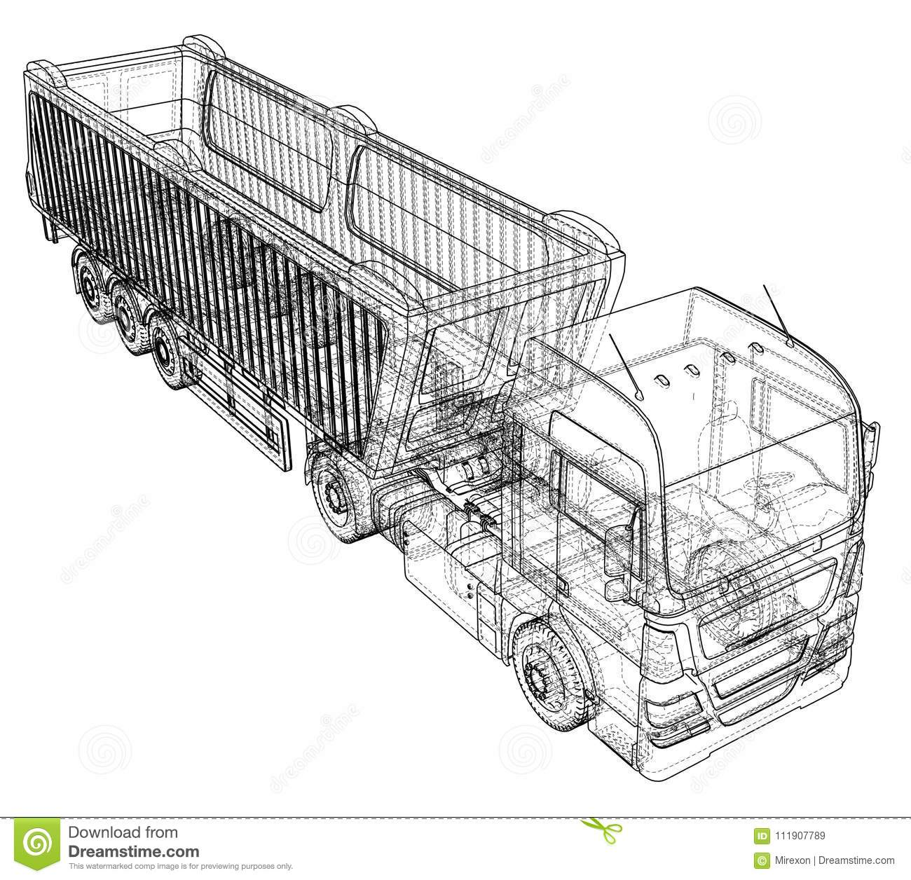 Truck With Trailer Vector Isolated On White Vehicle Mockup How To Wire A Car Created Illustration Of 3d Frame