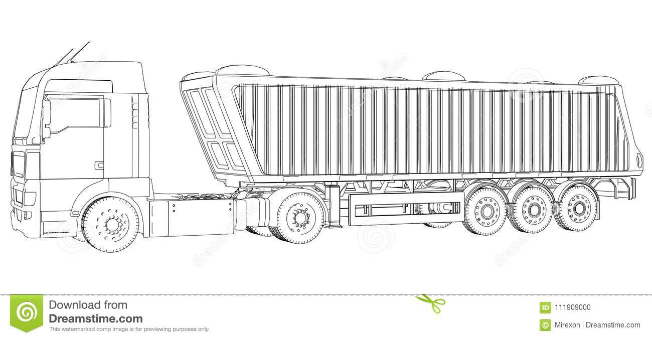 Truck With Trailer Vector. Isolated On White. Vehicle Mockup ...