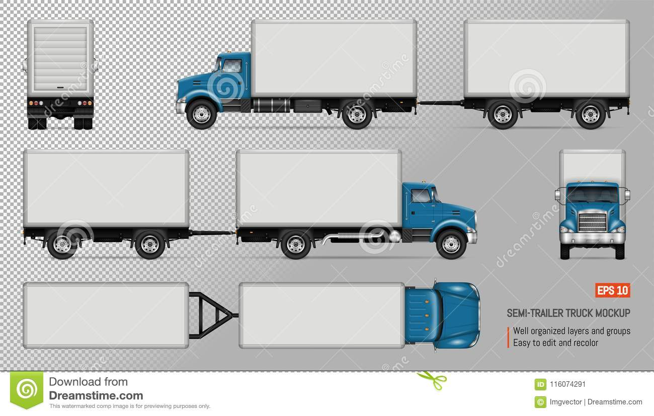 Truck with trailer vector mockup.