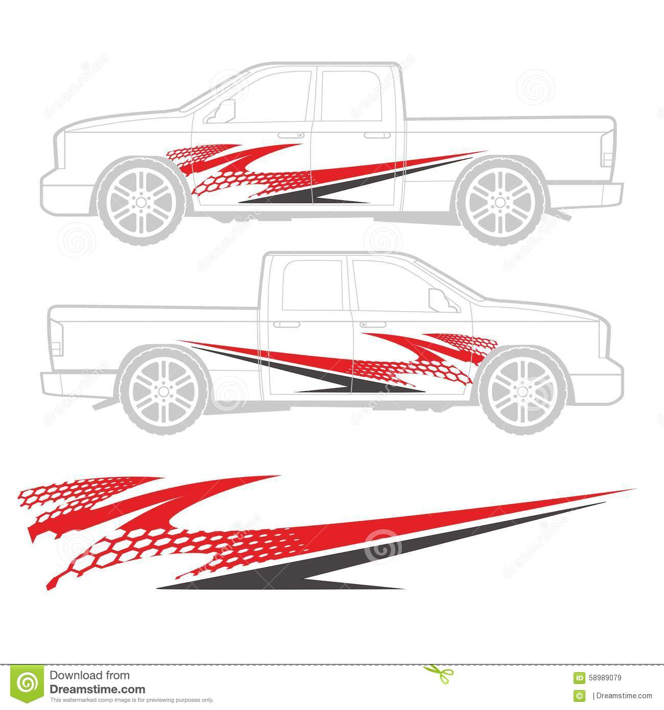 Graphic decal design for truck and vehicle