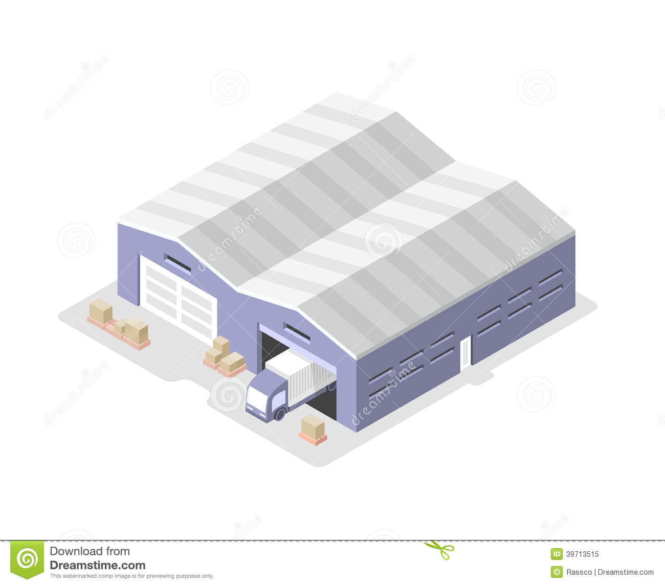 Truck In The Warehouse Distribution Center Stock Vector