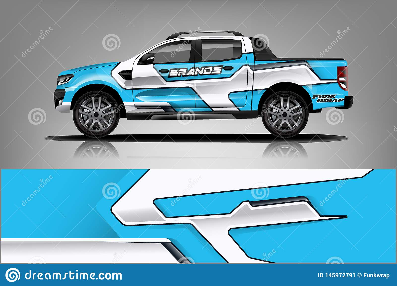 Truck Wrap Livery design. Ready print wrap design for Van. - Vector