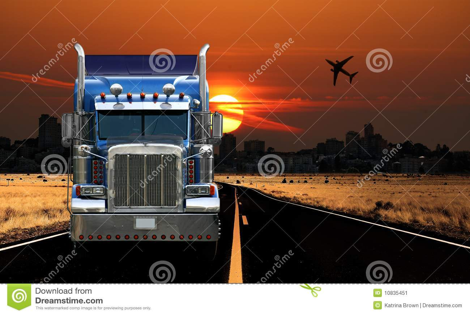 Trucking City View at Sunrise
