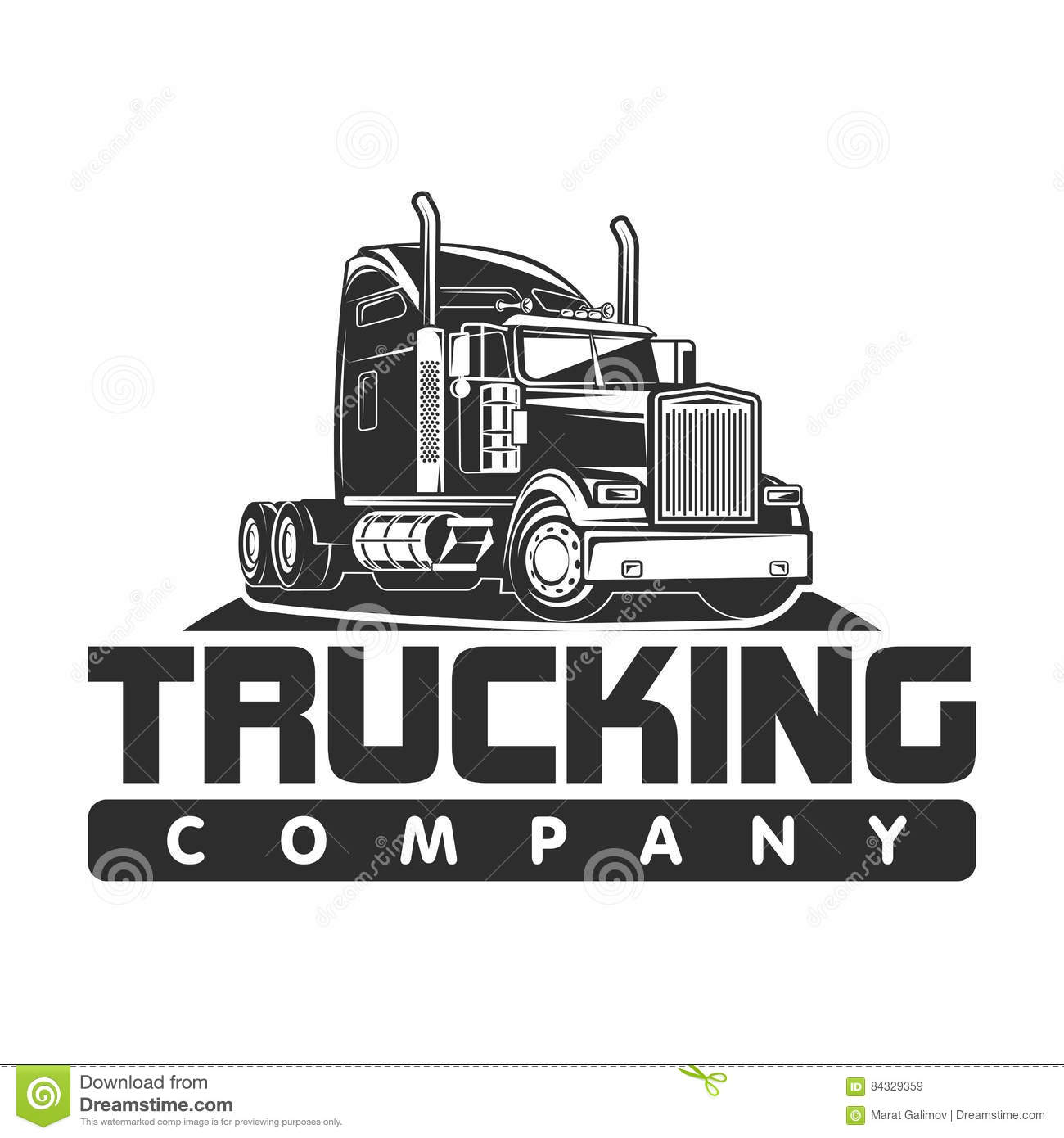 trucking company logo black and white vector illustration