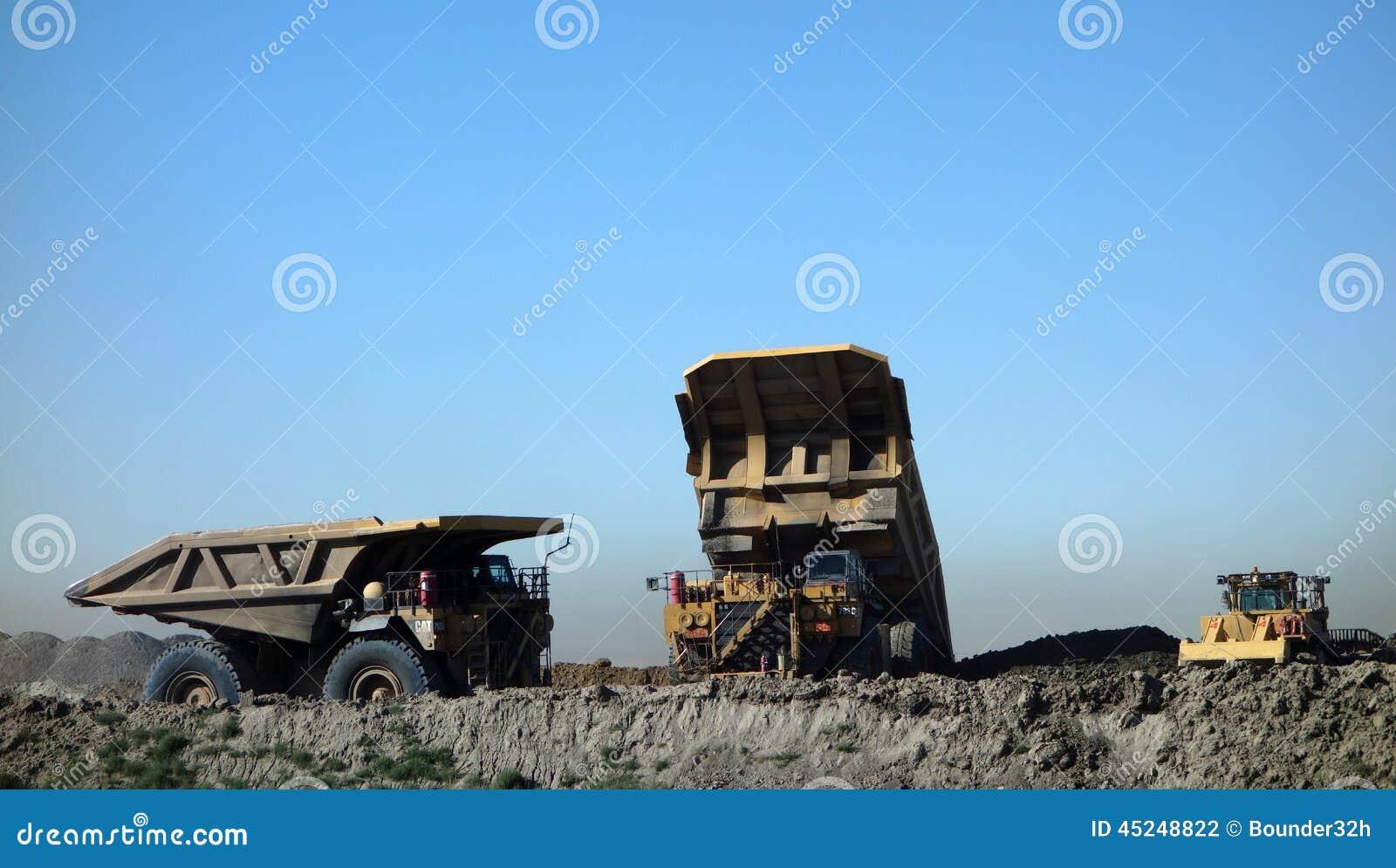 Trucks at a coal mine in south dakota