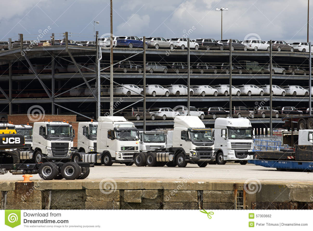 Trucks And Luxury Cars Await Export From Docks Uk Editorial