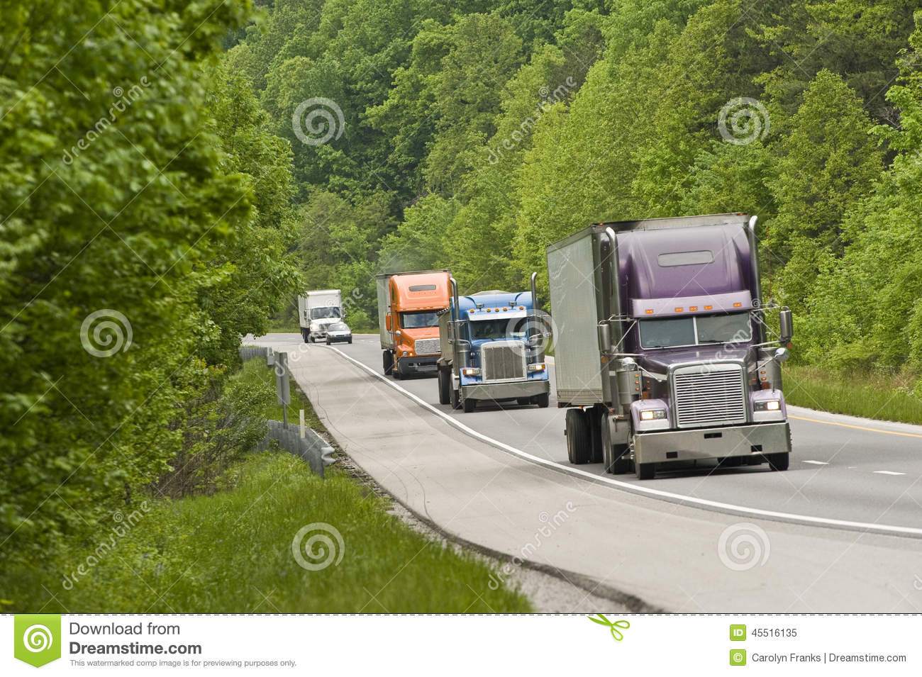 Download Trucks on highway stock image. Image of semi, daylight - 45516135