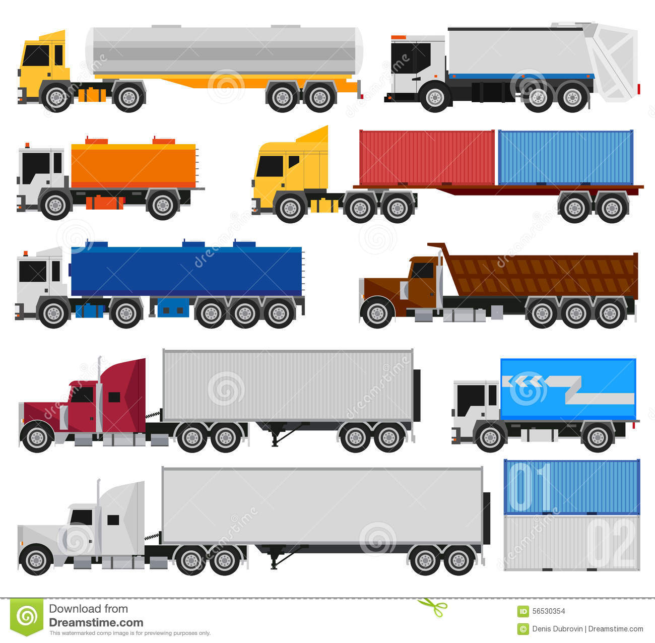 Trucks And Trailers Stock Vector Illustration Of Tank