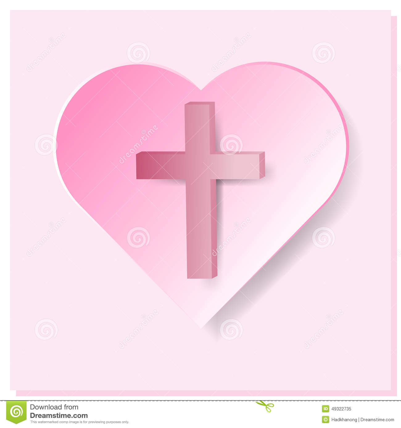 True Cross In Pink Heart On Pink Background Stock Vector ...