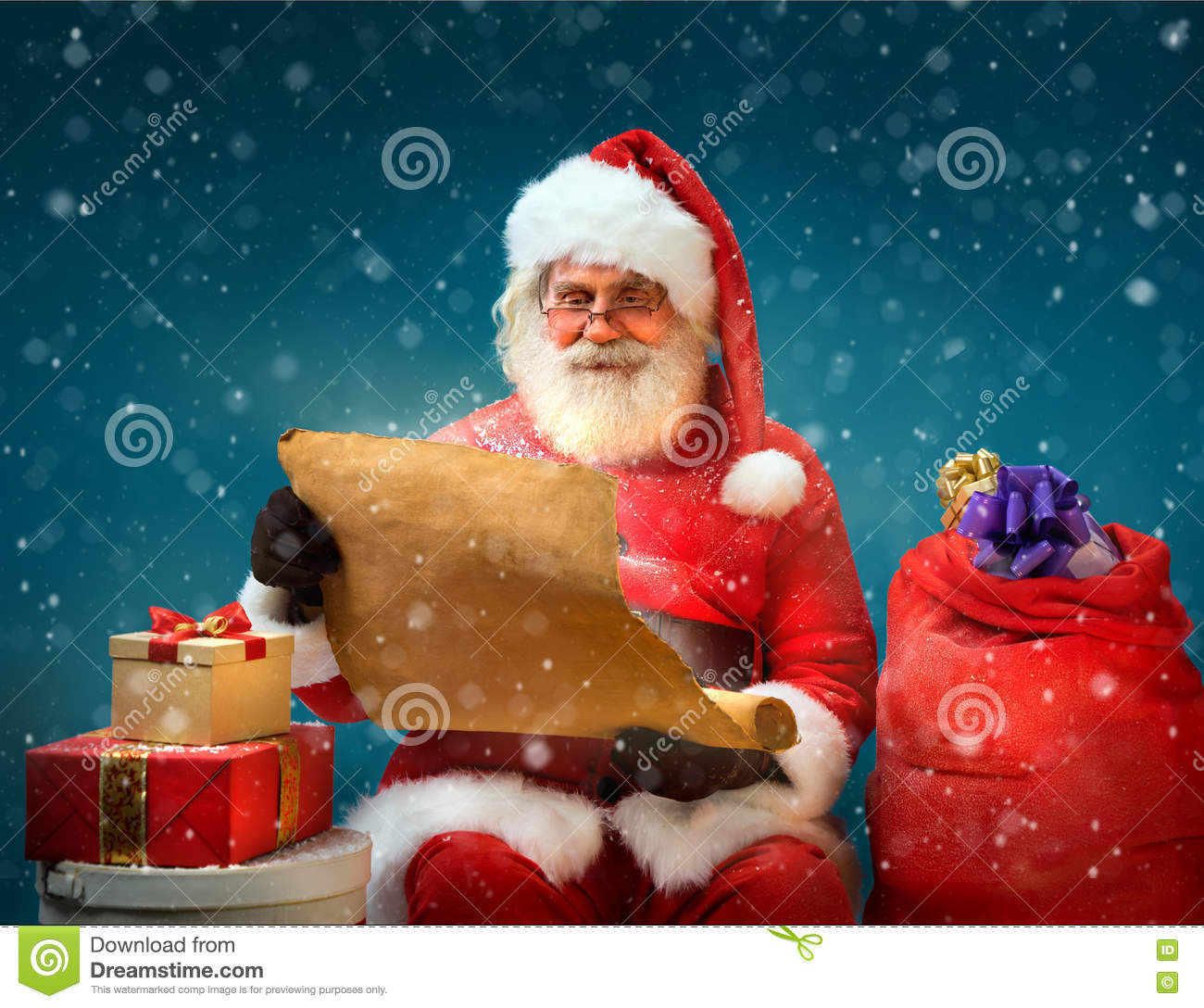True Santa Claus reads long list of gifts for children on blue background.
