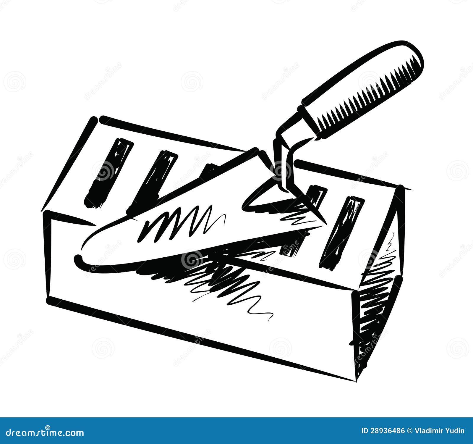 Truelle et brique illustration de vecteur. Illustration du noir - 28936486