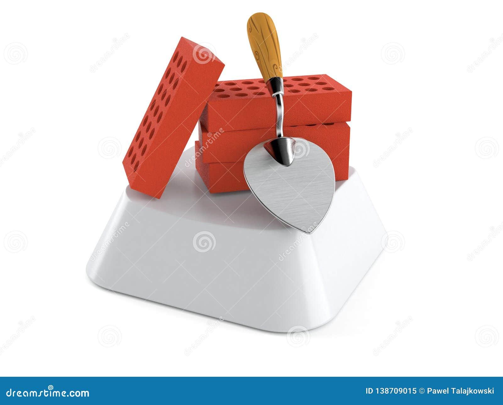 Truelle et briques sur la touche d ordinateur