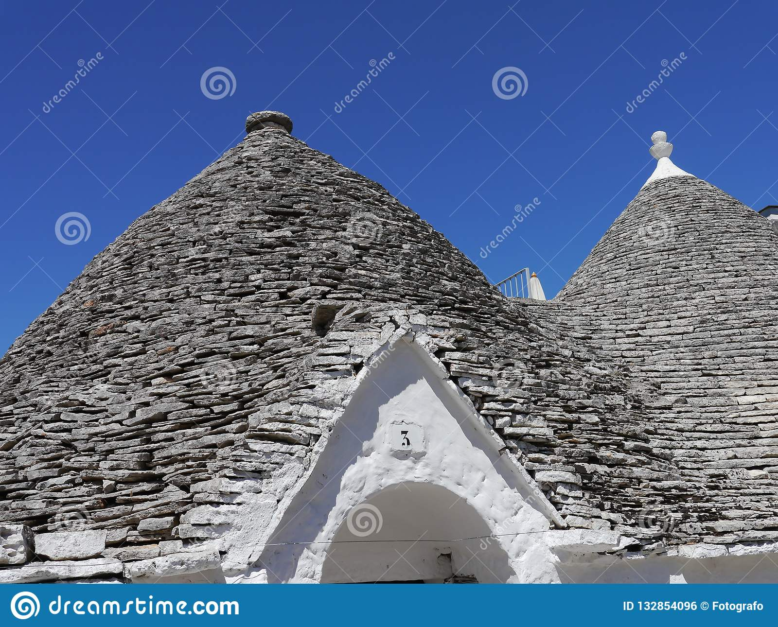Detail of a trullo in Alberobello, Apulia region in Southern Italy.