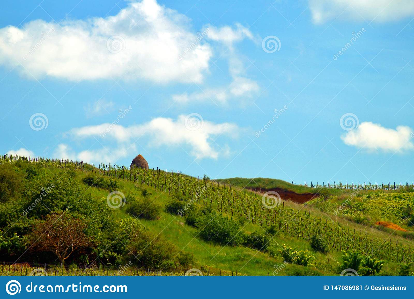 Trulli house in Rhineland-Palatinate, germany. view to gravel pit