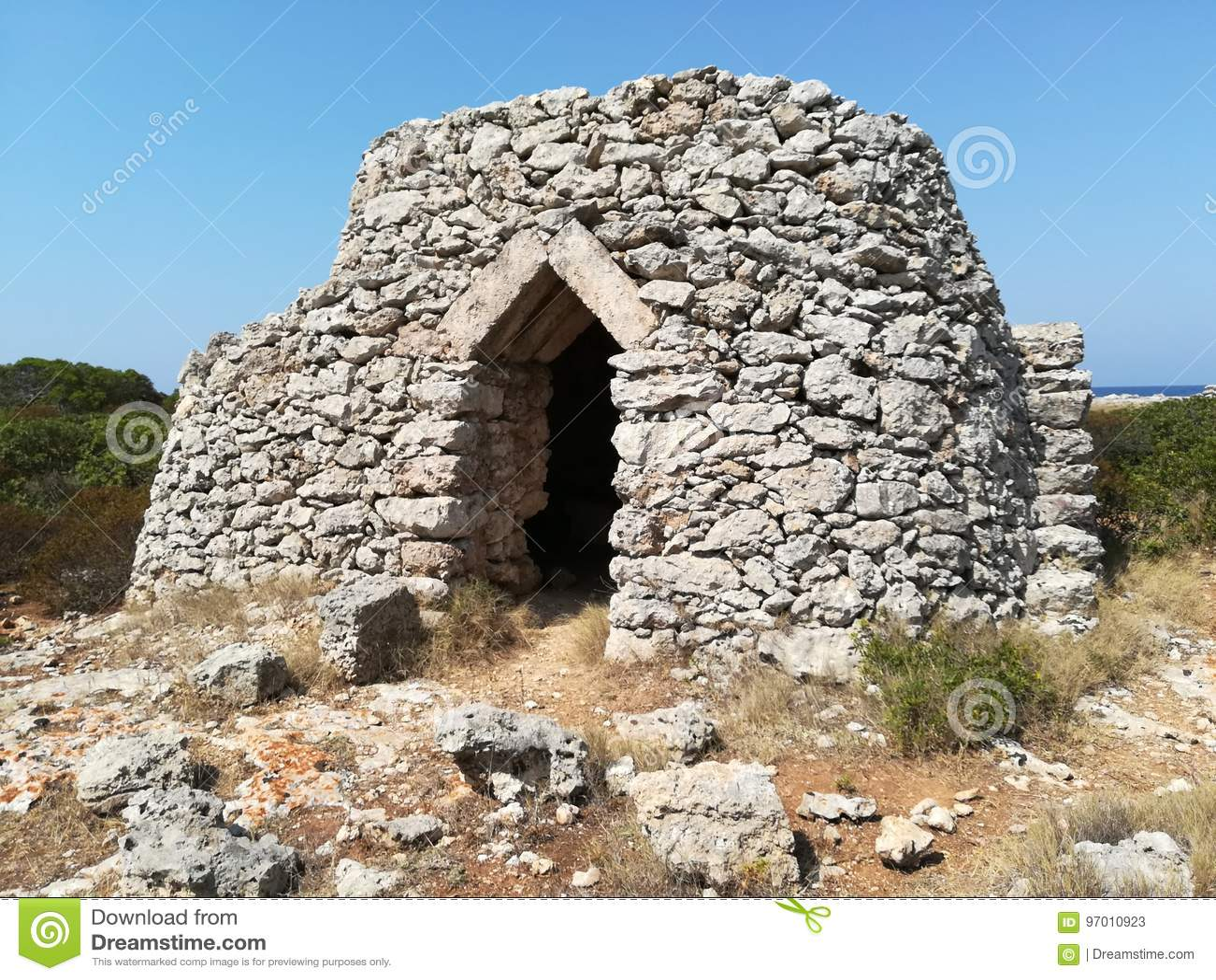Trullo salento Pajaru A wiejski dom budował z kamieniami typowymi Salento teren Lecka, Puglia