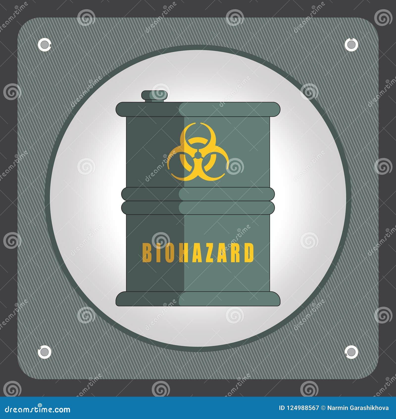 Trumma med farliga kemikalieer Ekologidesignbegrepp med luft-, vatten- och jordförorening Plan symbolsvektorillustration